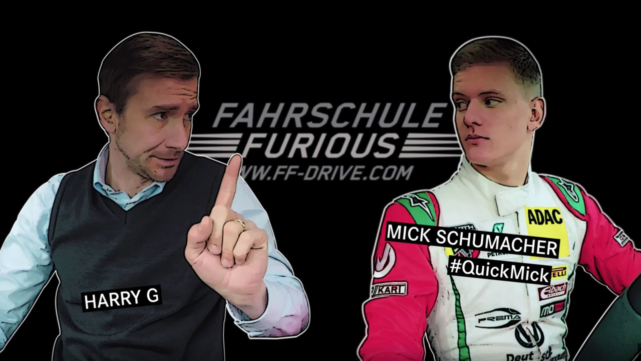 Mick Schumacher parking a Mercedes-AMG A45