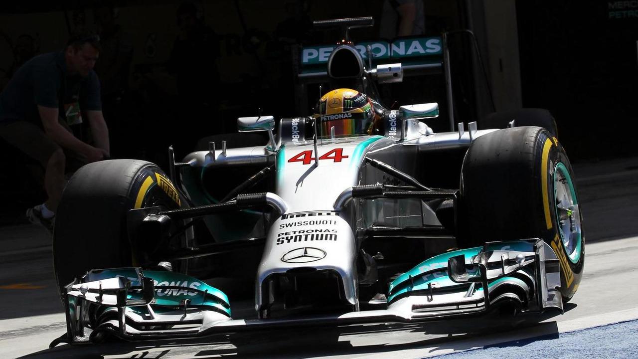 Lewis Hamilton (GBR) Mercedes AMG F1 W05 leaves the pits. 21.02.2014. Formula One Testing, Bahrain Test