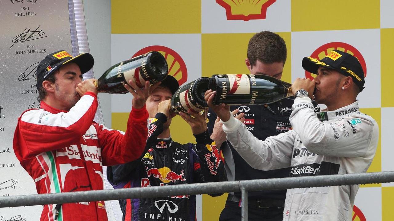 Fernando Alonso with Sebastian Vettel and Lewis Hamilton 25.08.2013 Belgian Grand Prix