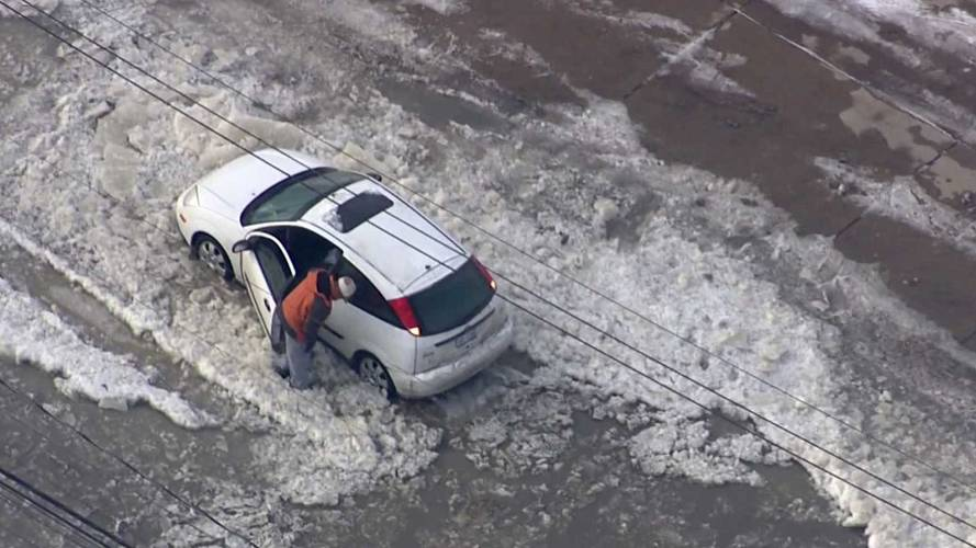 Dumb Ford Focus Driver Tries To Conquer Icy Water, Hits Iceberg