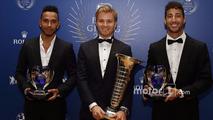Lewis Hamilton, World Champion Nico Rosberg, Daniel Ricciardo