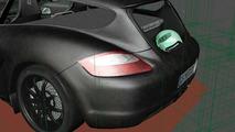 Porsche Cayman Shooting Brake fraud 3D rendering