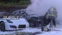 Fire at Porsche dealer in Hamburg