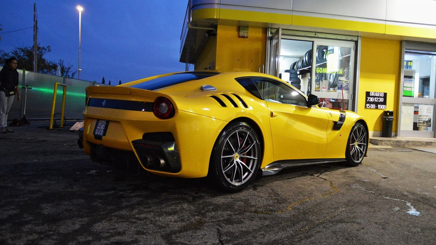 Stunning yellow Ferrari F12tdf photographed in the metal