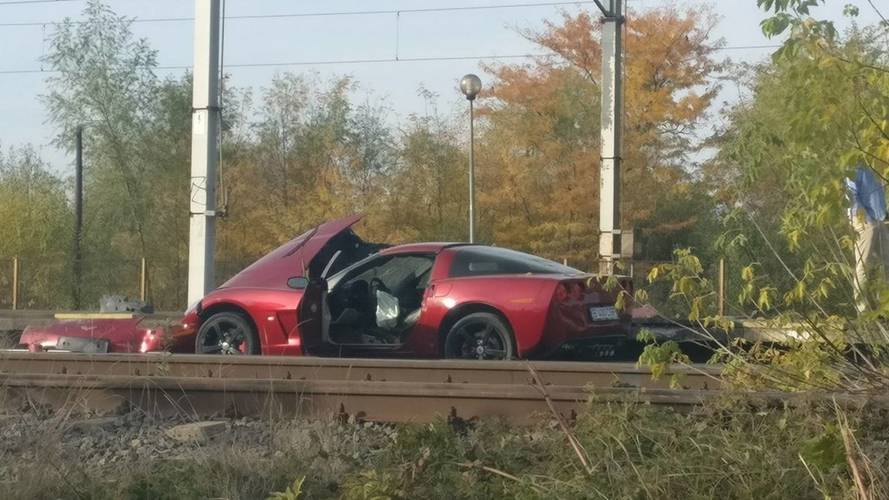 Crashed Chevy Corvette