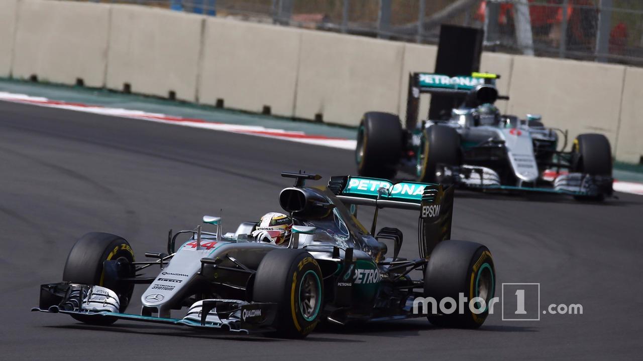 Lewis Hamilton, Mercedes AMG F1 W07 and Nico Rosberg, Mercedes AMG Petronas F1 W07