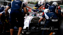 Valtteri Bottas, Williams FW38, in the pits during practice