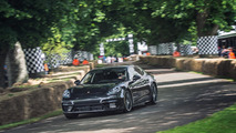 Patrick Dempsey drives camouflaged 2017 Porsche Panamera up Goodwood hill