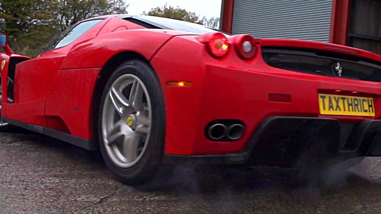 Ferrari Enzo power slides in slow motion video screenshot