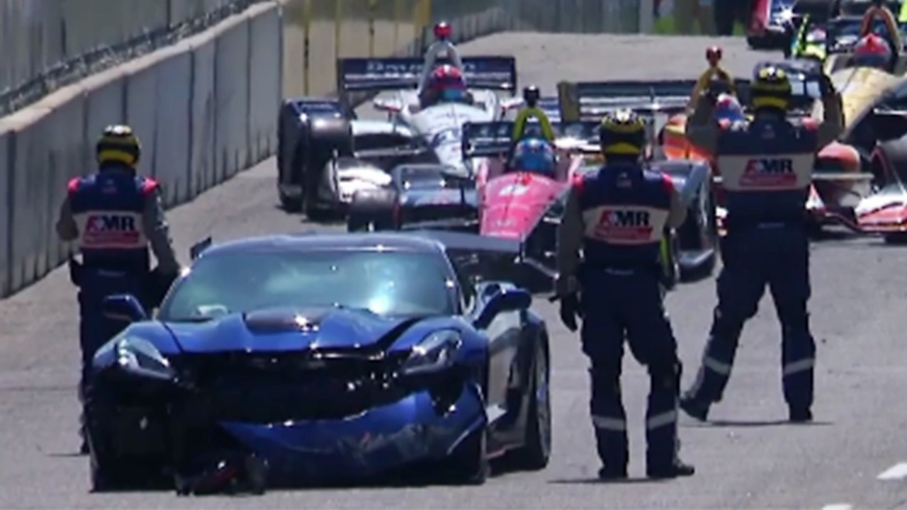 Gm exec crashes safety car at detroit indycar race for Motor vehicle crashes cost american