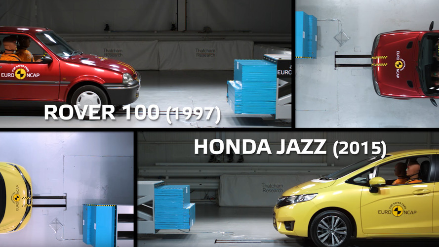 euro ncap compares 1990s rover crash test with recent honda jazz. Black Bedroom Furniture Sets. Home Design Ideas