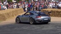 Porsche 911 GT2 RS donut attempt at 2017 Goodwood Festival of Speed