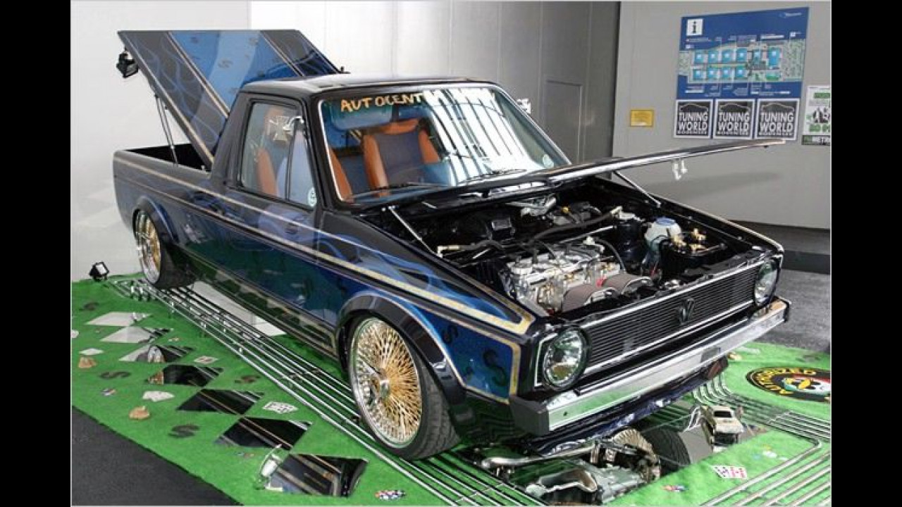 Bei diesem VW Caddy handelt es sich um einen tanzenden Lowrider