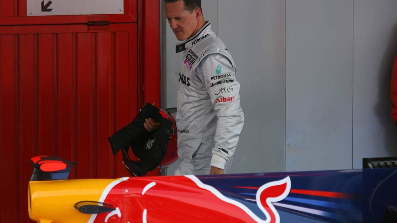Michael Schumacher (GER), Mercedes GP Petronas looks at the Red Bull, Spanish Grand Prix, 09.05.2010 Barcelona, Spain